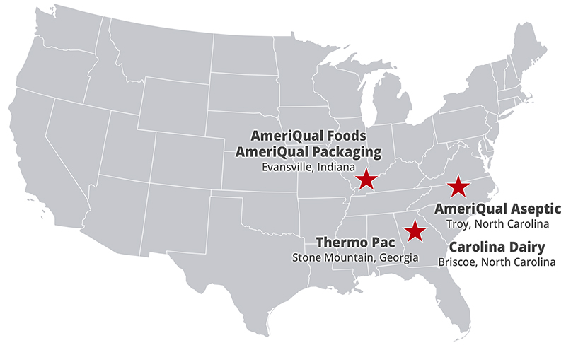 AmeriQual Group Facilities Location Map